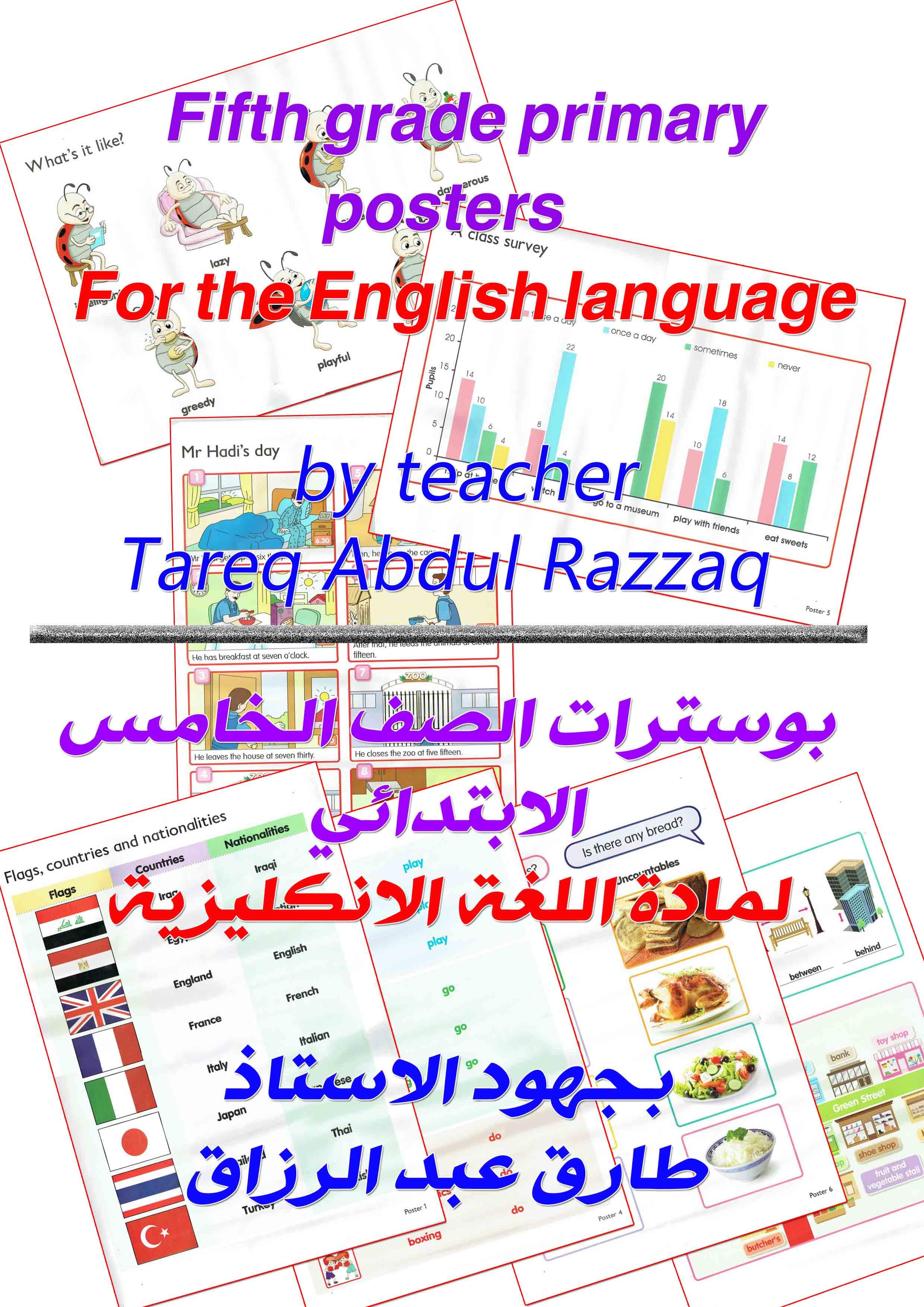 Fifth grade primary posters بوسترات الصف الخامس لمادة اللغة الانكليزية